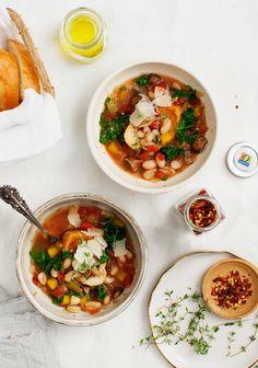 White Bean Tomato Mushroom Soup with Butternut Squash & Thyme @loveandlemons