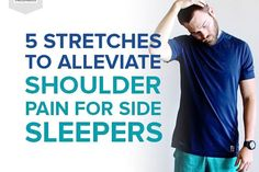 The fetal position can crunch your up neck, leading to shoulder pain. Here are 5 stretches that side sleepers can do to get rid of that achy shoulder! Neck And Shoulder Stretches, Shoulder Pain Exercises, Neck And Shoulder Pain, Shoulder Tension, Shoulder Joint, Feeling Fatigued, Carpal Tunnel Syndrome, Easy Stretches, Tight Hips