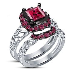 1.15 CT. Princess & RD Pink Sapphire Bridal Ring Set in 14K White Gold Fn Sz 5 6 #aonejewels
