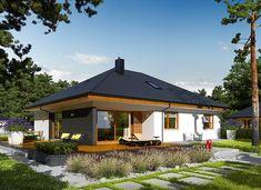 Astrid II G2 (mała) energo - zdjęcie 1 Bungalow House Plans, Home Design Plans, Log Homes, Malaga, Gazebo, Living Spaces, Exterior, House Design, Outdoor Structures