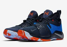 """Paul George's Nike """"Home Craze"""" is releasing this week. For full details on this Thunder-inspired colorway, tap the link in our bio. Paul George Shoes, Nike Paul George, Basketball Shorts Girls, Adidas Basketball Shoes, Basketball Court, Houston Basketball, Basketball Scoreboard, Lit Shoes, Addias Shoes"""