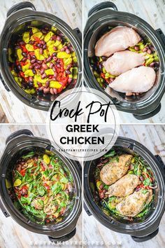 HOLY FLAVOR! This Greek Chicken and Vegetables is so good and SO EASY! Made as a crockpot chicken breast recipe, you can pile it in and forget it, while this chicken cooks to perfection. Easy and healthy, this crockpot dinner is packed with protein and vegetables including spinach, onions, peppers and olives! If you love Greek inspired food, you HAVE to try this easy dinner idea!
