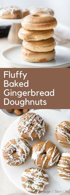 Light, airy and baked instead of fried. These Fluffy Baked Gingerbread Doughnuts are laced with gingerbread flavor and topped with sweet gingerbread icing. Baked Donut Recipes, Pastry Recipes, Baking Recipes, Cookie Recipes, Best Brunch Recipes, Sweet Recipes, Holiday Recipes, Winter Recipes, Breakfast Recipes