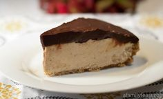 A luscious peanut butter pie with a sweet graham cracker crust and a chocolate ganache topping.