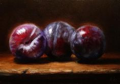 """Daily Paintworks - """"Three Autumn Plums"""" by Mary Ashley Watercolor Fruit, Fruit Painting, Small Paintings, Beautiful Paintings, Still Life Fruit, Hyperrealism, Illustrations, Food Art, Plum Fruit"""
