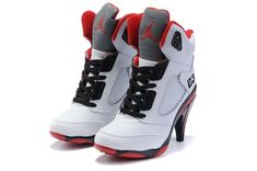 Jordan Shoes Womens Air Jordan 5 High Heels White Black Red Boots [Womens Air Jordan 5 Boots - White leather upper with plastic mesh on the side. Black cotton shoe laces and red accents for the inner lining, midsole, and outsole. Nike High Heels, High Heel Sneakers, Sneaker Heels, Black High Heels, Air Jordans Femme, Air Jordans Women, Jordans Girls, Retro Jordans, Cheap Jordans