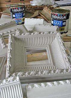 Moulding to frames. Brilliant, because I can never find awesome chunky frames. This is a fantastic solution!!!!.