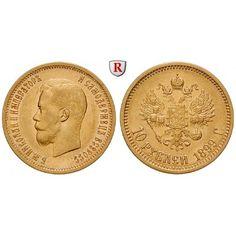 Russland, Nikolaus II., 10 Rubel 1899, 7,74 g fein, f.vz/vz-st: Nikolaus II. 1894-1917. 10 Rubel 7,74 g fein, 1899. Friedb. 179;… #coins