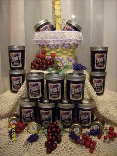 Mixed Berry Lavender Spread: Dried edible lavender flowers,Mixed Berries,Water Sugar, Fruit Pectin  This is for the ladies with a unique flavor palet, I just love this