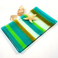 Emerald Green Fused Glass Plate or Candle Holder, Striped 7 x 5 Inch | ResetarGlassArt - Glass on ArtFire