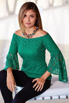You are beautiful in winter green lace detailed with sparkling sequins and sheer three-quarter asymmetric bell sleeves in a sexy off-the-shoulder silhouette. Fully lined with outfits winter indie Off-the-shoulder Sequin Lace Top Look Fashion, Trendy Fashion, Runway Fashion, Womens Fashion, Fashion Design, Fashion Trends, Paris Fashion, Trendy Style, Fashion 2018