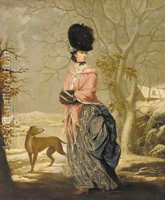 Winter, Portrait of a lady, full-length, in a blue dress with pink wrap and black hat, in a landscape with a dog by John Raphael Smith