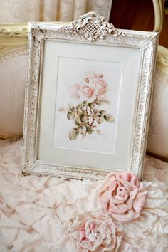 gorgeous vintage Shabby Chic picture frame with roses. Beautiful old- fashioned frame painted white with a dark wax.