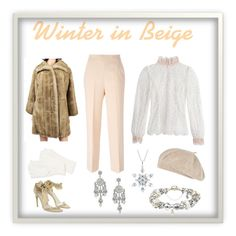 """""""Winter in Beige"""" by umoja ❤ liked on Polyvore featuring Reeds Jewelers, Miss Selfridge, Zimmermann, MSGM, River Island, MaxMara and Echo"""
