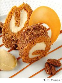Pecan and Carrot Cake Roll (carrot cake filled with cream cheese and rolled with candied pecans) from Leite's Culinaria