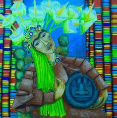 Frida 60x60 - acrilico su cartone telato
