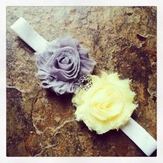 Gray and Light Yellow Shabby Chic Headbands with by LyndenChicBaby, $8.50