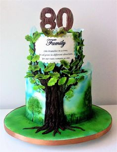 This cake was made for very special friends of mine. They wanted a family tree cake, for mum's 80th birthday and wanted every leaf to be named after a member of their family. I must say I loved every minute of working on the cake. There is a lot...