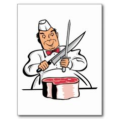 #Butcher Meat Cutter Chef Cook Meats #Postcards Stickers,Apron,Keychains,Hats,Gifts.