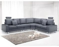Sofa tapicerowana - kanapa z 100% poliestru ciemnoszara - STOCKHOLM
