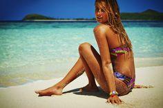 Alana Blanchard on location in Fiji wearing the Modern Myth bikini