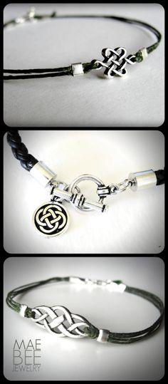 #Celtic Knots on #Irish linen and leather #bracelets from JewelryByMaeBee on #Etsy. www.jewelrybymaebee.etsy.com.