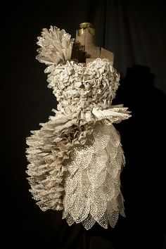 Book art - dress made from stylized book pages.