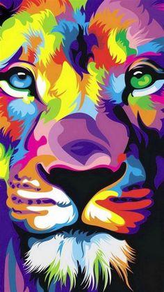 Colorful Animal Paintings, Colorful Animals, Geometric Lion, Lion Painting, Joker Art, Lion Art, Arte Pop, Cat Art, Art Drawings