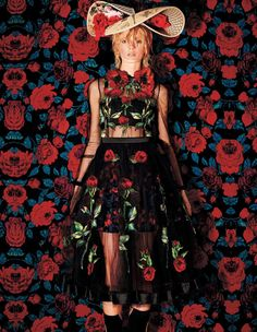 Daria Strokous wears beautiful blooms ranging from sheer dresses and blouses to intricate headpieces Pose in Harper's Bazaar Japan Magazine December 2015 issue Photoshoot