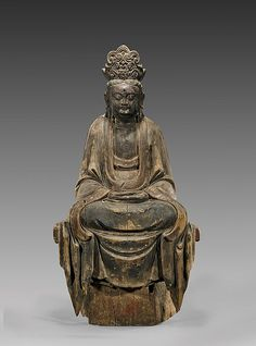 """Large Chinese, late Ming Dynasty carved wood temple figure of Guanyin; with ornate crown and draping robes, seated with hands resting on her lap in the mudra of meditation; H: 41"""""""