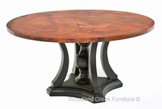 Copper Dining Table Round by Woodland Creek.