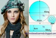 Moldes Moda por Medida: BOINA See other ideas and pictures from the category menu…. Faneks healthy and active life ideas Hat Patterns To Sew, Sewing Patterns Free, Free Sewing, Free Pattern, Sewing Clothes, Diy Clothes, Sewing Hacks, Sewing Tutorials, Diy Hat