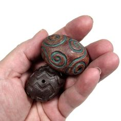 One of a Kind Hand Carved Ceramic Hollow Clay Beads by BHClaysmith
