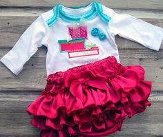 Christmas Ruffle Diaper Cover SET, Christmas Gift Appliqued Ruffle Bloomer SETS, Holiday Ruffle Bloomer Baby Girls Toddler Infant 5928 NL-R. $65.00, via Etsy.