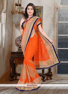 Spectacular Orange Classic Designer Saree