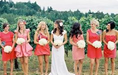 Bridesmaids dresses in different shades and styles...this way no one is caught wearing the same dress.