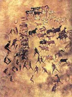 Escena pastoril Montes Tassilli; Sahara argelino