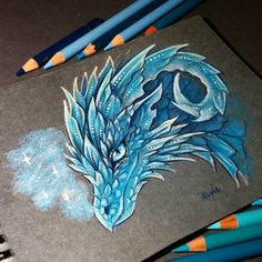 Ice dragon by AlviaAlcedo on DeviantArt Dragon Eye Drawing, Dragon Sketch, Fantasy Drawings, Cool Drawings, Fantasy Art, Mythical Creatures Art, Fantasy Creatures, Creature Drawings, Animal Drawings