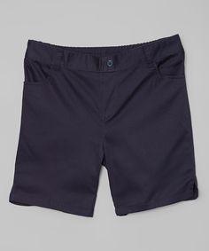 Navy Casual Button Shorts - Toddler & Girls' Plus