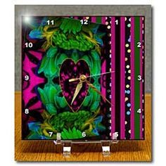 A pink heart in lace with black on layered pink, green and maroon art Desk Clock