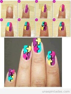 Tutorial paso a paso para dibujar puzzle en las uñas