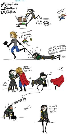 Loki and Thor - Brothers Doodles by *Chajiko on deviantART
