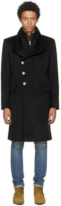 Balmain Black Lined Cashmere Coat