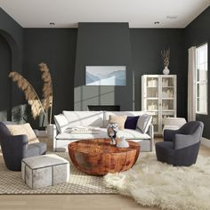 Dark color walls have a way of disrupting scale and proportion in rooms so that everything else in the space pops instead, like furniture and accents. It's perfect for high-ceilinged spaces.