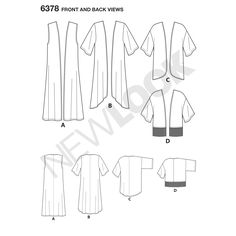 This easy kimono pattern includes long and high low kimono and short kimono with half sleeves, cropped kimono with fringe hem, and floor length kimono vest. New Look sewing pattern.