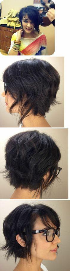 coiffure cheveux courts bob carré plongeant court sur ceveux bruns foncés