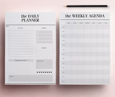 Minimal Planner A4 Agenda Inserts 12 by CrossbowPrintables