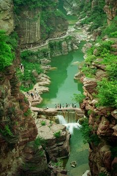 Red stone valley in Yuntaishan Subpark Some great colours mainly greens and stone but also a great ariel shot
