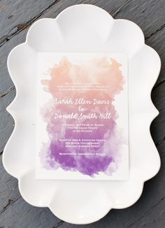 Watercolor wedding invitation #weddings. Photo by Stephanie Yonce Photography.
