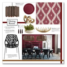 """Mood Board: Daring Dining in Red"" by kellylynne68 ❤ liked on Polyvore featuring interior, interiors, interior design, home, home decor, interior decorating, Nuevo, Interlude, Viners and Creative Converting"